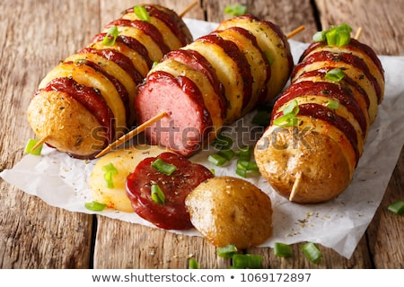 Stock photo: Bacon and potato skewer with fries
