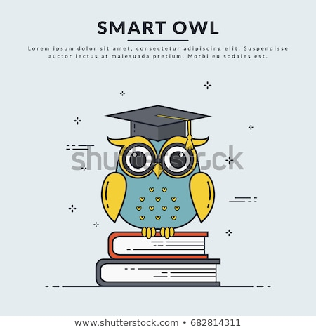 karikatür · baykuş · okuma · kitap · örnek · sevimli - stok fotoğraf © orensila