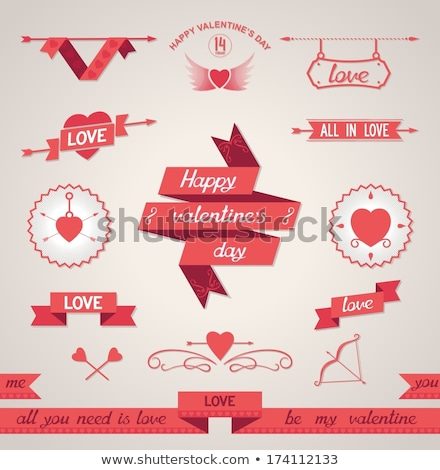 Set of stylised hearts with ribbons. Stock photo © AlonPerf