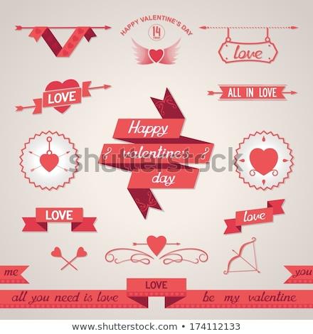 ayarlamak · kalpler · dört · stilize · örnek - stok fotoğraf © AlonPerf