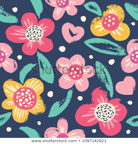 seamless texture with floral hearts stock photo © pakete