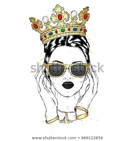 Mooi meisje kroon mooie jonge vrouw grijs korset Stockfoto © svetography