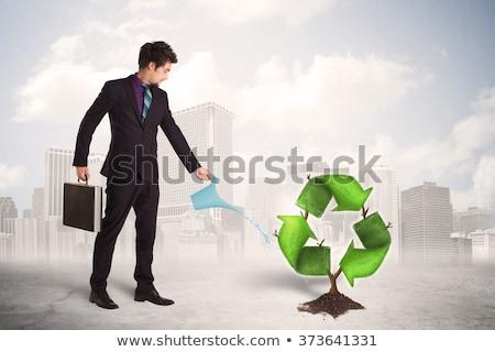 Férfi locsol fa újrahasznosít felirat ázsiai Stock fotó © RAStudio