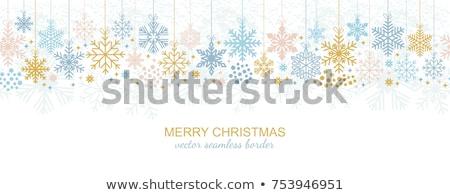 Seamless pattern. Golden winter banner with xmas balls, vector illustration Stock photo © carodi