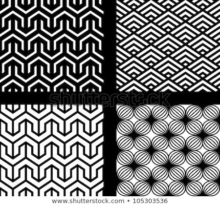 ストックフォト: ベクトル · シームレス · 黒白 · クロス · 幾何学模様 · パターン
