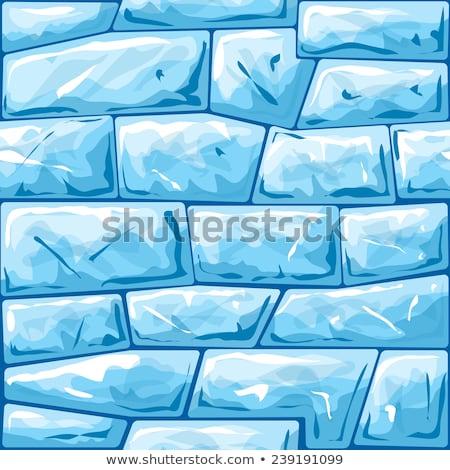 Hielo ladrillo pared de ladrillo azul invierno Foto stock © Andrei_