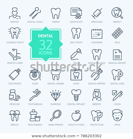 tooth caries line icon stock photo © rastudio