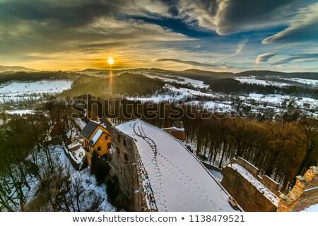 Sunset over Grodno Castle in Owl mountains Stock photo © Hochwander