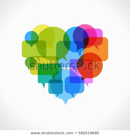 Valentine konuşma balonu kart sevgililer günü kalpler kalp Stok fotoğraf © SwillSkill