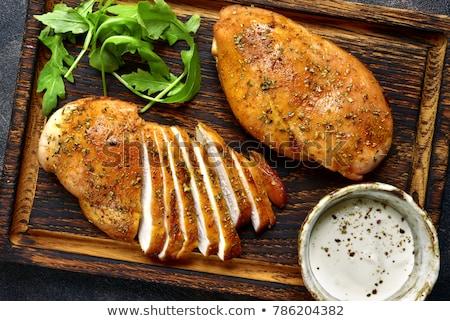 Fűszeres csirkemell filé fából készült vágódeszka étel Stock fotó © Digifoodstock
