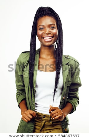 jovem · mulher · bonita · posando · branco · isolado - foto stock © iordani