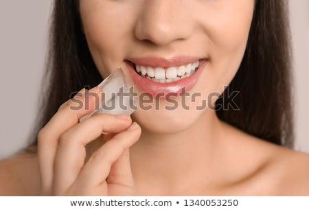 Ice Cube mond zwarte textuur vrouwen licht Stockfoto © Fisher