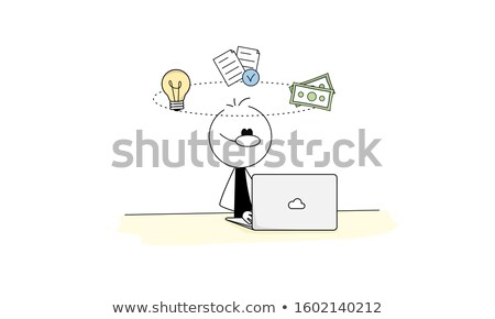 Stick figure as a manager with a revolver Stock photo © Ustofre9