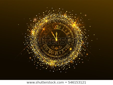midnight new year clock with roman numerals and gold confetti on dark background stock photo © orensila