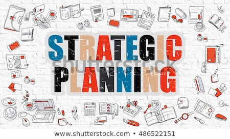 Plan stratégique blanche doodle style icônes autour Photo stock © tashatuvango
