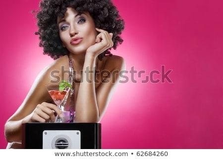 Közelkép portré nő martinis pohár áll klub Stock fotó © wavebreak_media