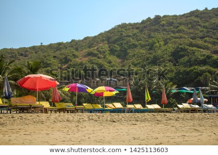 Colorful huts on sand against clear sky Stock photo © wavebreak_media