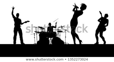 Férfi játszik gitár női dobos előad Stock fotó © wavebreak_media