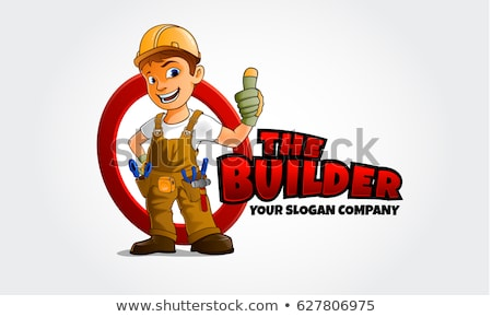 carpinteiro · mascote · sorrir · madeira · feliz · construção - foto stock © krisdog