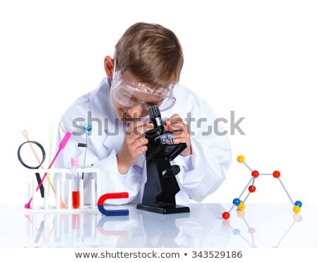 Jongen microscoop school kind onderwijs leuk Stockfoto © IS2