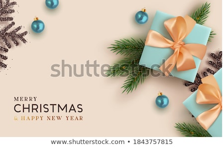 vector merry christmas illustration with ornamental balls and pine branch on shiny blue background stock photo © articular