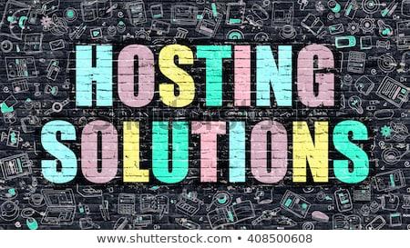 Hosting oplossingen doodle ontwerp iconen opschrift Stockfoto © tashatuvango