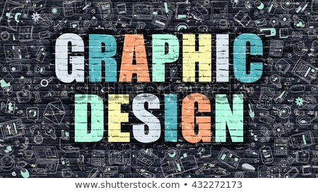 Graphic Design Concept. Multicolor on Dark Brickwall. Stock photo © tashatuvango