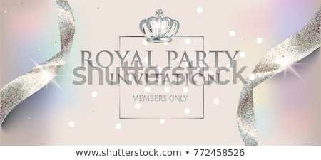 invitation card with silver holiday ribbon on vintage background stock photo © fresh_5265954