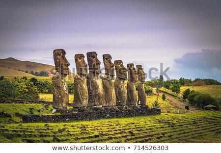 Moais statues, ahu Akivi, easter island Stock photo © daboost