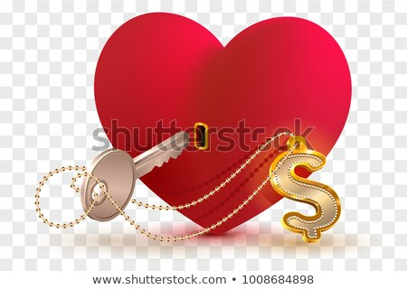 money dollar is key to heart of your beloved red heart shape lock and key with key ring home stock photo © orensila