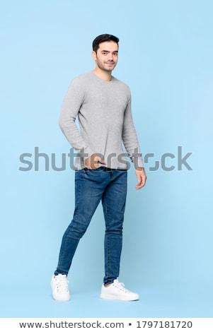 człowiek · stanowią · pozycja · odizolowany · biały - zdjęcia stock © deandrobot