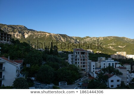 Dawn in the picturesque mountains covered with forests Stock photo © serg64
