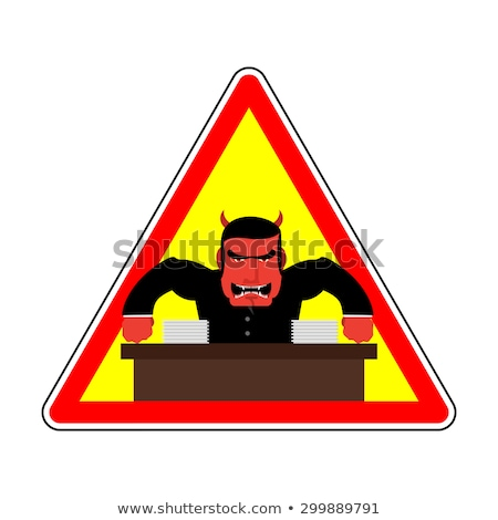 Danger sign Office label. Beware of evil boss. Angry chef. Vecto Stock photo © popaukropa