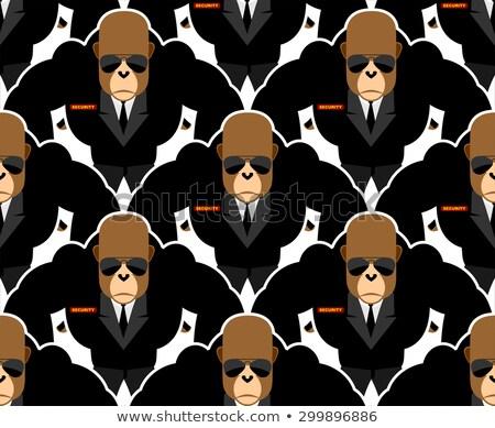 Security guard monkey seamless pattern. Bodyguards Gorilla Vecto Stock photo © popaukropa
