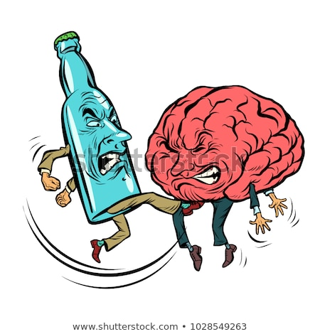 Alcoholism destroys the brain, drunk. fight bottle of vodka Stock photo © rogistok