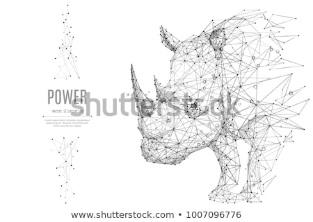 Blue rhinoceros of origami. Stock photo © brulove