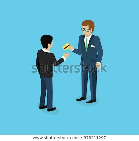 Menselijke hand creditcard isometrische 3D icon online Stockfoto © studioworkstock