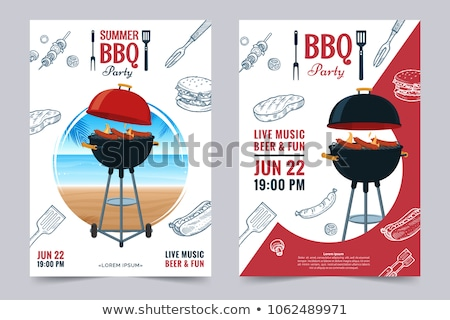BBQ party poster with meats on barbecue Stock photo © studioworkstock
