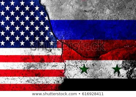 Szíria Oroszország USA konfliktus négyszögletes zászlók Stock fotó © romvo