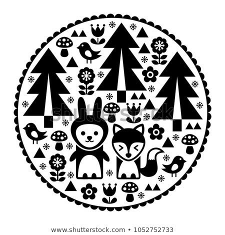 Cute Scandinavian round folk art pattern in black - Finnish inspired, Nordic style  Stock photo © RedKoala