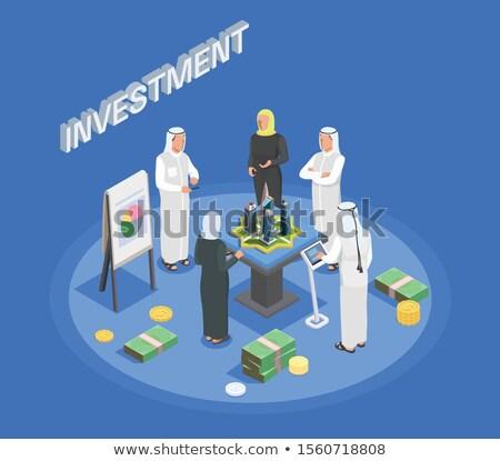 Arabisch vrouw business diagram kleding tonen Stockfoto © studioworkstock