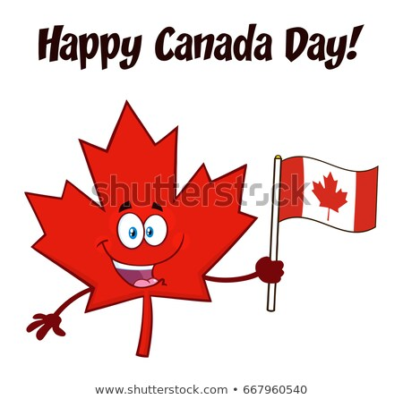 happy canadian red maple leaf cartoon mascot character holding an canadian flag stock photo © hittoon