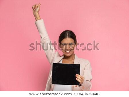 ünnepel üzletasszony tabletta tart kéz levegő Stock fotó © feedough