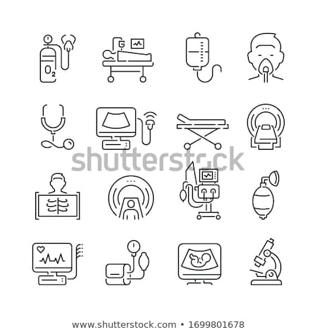 ultra-som · diagnóstico · máquina · ícone · preto · e · branco · criança - foto stock © smoki