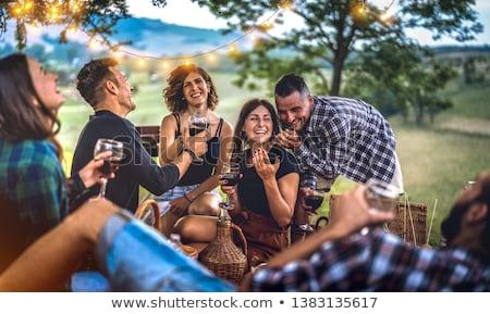 sonriendo · femenino · amigos · gafas · vino · tinto · parque - foto stock © dashapetrenko