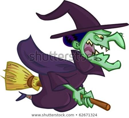 halloween · verde · chapéu · de · bruxa · isolado · branco · desenho · animado - foto stock © popaukropa