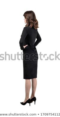 Portrait secrétaire femme d'affaires longtemps cheveux foncés vêtements Photo stock © deandrobot