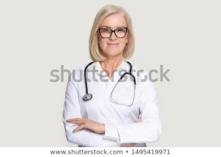 Lächelnd weiblichen Arzt tragen Laborkittel weiß Stock foto © wavebreak_media