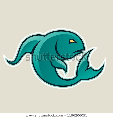 Persian Green Fish or Pisces Icon Vector Illustration Stock photo © cidepix