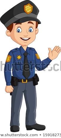Gyerek integet hello rendőr illusztráció gyermek Stock fotó © artisticco